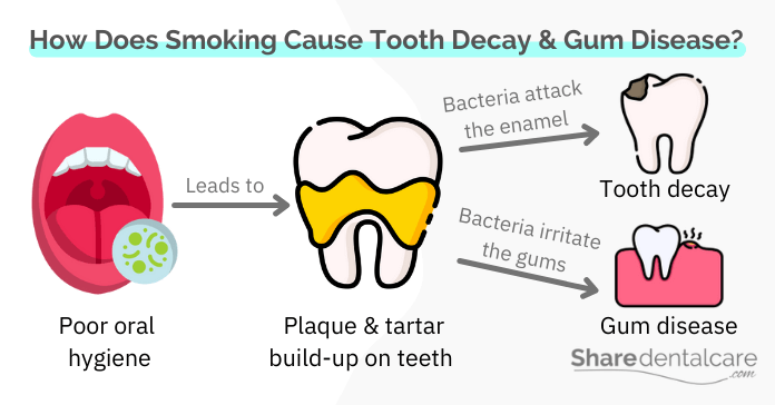 How does smoking cause tooth decay and gum disease?